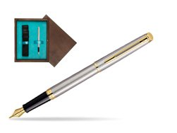 Waterman Hémisphère Stainless Steel GT Fountain pen in single wooden box  Wenge Single Turquoise