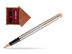 Waterman Hémisphère Stainless Steel GT Rollerball pen in single wooden box Mahogany Single Maroon