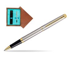Waterman Hémisphère Stainless Steel GT Rollerball pen in single wooden box  Mahogany Single Turquoise