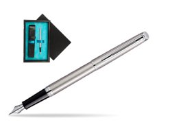 Waterman Hémisphère Stainless Steel CT Fountain pen  single wooden box  Black Single Turquoise