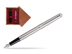 Waterman Hémisphère Stainless Steel CT Fountain pen in single wooden box Mahogany Single Maroon