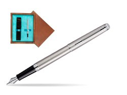 Waterman Hémisphère Stainless Steel CT Fountain pen in single wooden box  Mahogany Single Turquoise
