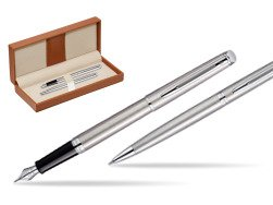 Waterman Hémisphère Stainless Steel CT Fountain pen + Hémisphère Stainless Steel CT Ballpoint pen in gift box  in classic box brown