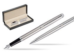 Waterman Hémisphère Stainless Steel CT Fountain pen + Hémisphère Stainless Steel CT Ballpoint pen in gift box  in classic box  black