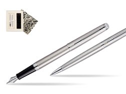 Waterman Hémisphère Stainless Steel CT Fountain pen + Hémisphère Stainless Steel CT Ballpoint pen in gift box in Standard Gift Box
