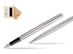 Waterman Hémisphère Stainless Steel CT Fountain pen + Hémisphère Stainless Steel CT Ballpoint pen in gift box in Standard 2 Gift Box