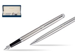 Waterman Hémisphère Stainless Steel CT Fountain pen + Hémisphère Stainless Steel CT Ballpoint pen in gift box