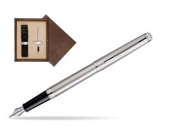 Waterman Hémisphère Stainless Steel CT Fountain pen in single wooden box  Wenge Single Ecru