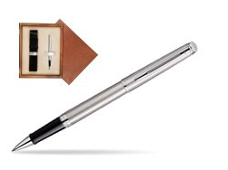 Waterman Hémisphère Stainless Steel CT Rollerball pen in single wooden box  Mahogany Single Ecru