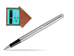 Waterman Hémisphère Stainless Steel CT Rollerball pen in single wooden box  Mahogany Single Turquoise