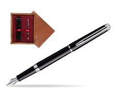Waterman Hémisphère Black CT Fountain pen in single wooden box Mahogany Single Maroon