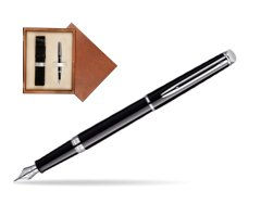Waterman Hémisphère Black CT Fountain pen in single wooden box  Mahogany Single Ecru