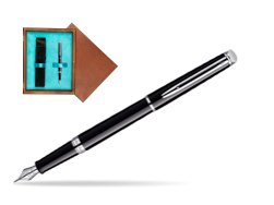 Waterman Hémisphère Black CT Fountain pen in single wooden box  Mahogany Single Turquoise