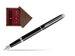 Waterman Hémisphère Black CT Fountain pen in single wooden box  Wenge Single Maroon