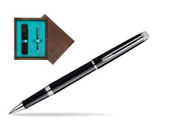 Waterman Hémisphère Black CT Rollerball pen in single wooden box  Wenge Single Turquoise