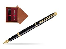 Waterman Hémisphère Black GT Fountain pen in single wooden box Mahogany Single Maroon
