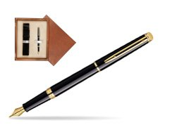 Waterman Hémisphère Black GT Fountain pen in single wooden box  Mahogany Single Ecru