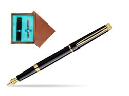 Waterman Hémisphère Black GT Fountain pen in single wooden box  Mahogany Single Turquoise
