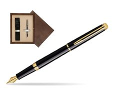 Waterman Hémisphère Black GT Fountain pen in single wooden box  Wenge Single Ecru
