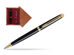 Waterman Hémisphère Black GT Ballpoint pen in single wooden box Mahogany Single Maroon