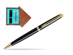 Waterman Hémisphère Black GT Ballpoint pen in single wooden box  Mahogany Single Turquoise
