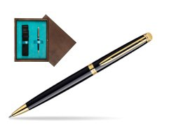 Waterman Hémisphère Black GT Ballpoint pen in single wooden box  Wenge Single Turquoise