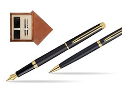 Waterman Hémisphère Matt Black GT Fountain pen + Waterman Hémisphère Matt Black GT Ballpoint Pen in double wooden box Mahogany Double Ecru