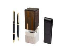Waterman Hémisphère Matt Black GT Fountain pen + Waterman Hémisphère Matt Black GT Ballpoint Pen in gift box  StandUP Matrix