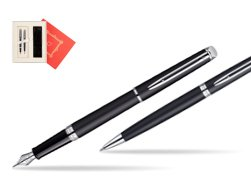 "Waterman Hémisphère Matt Black CT Fountain pen + Waterman Hémisphère Matt Black CT Ballpoint Pen in Gift Box ""Red Love"""
