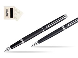 Waterman Hémisphère Matt Black CT Fountain pen + Waterman Hémisphère Matt Black CT Ballpoint Pen in Wedding Gift Box