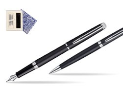 Waterman Hémisphère Matt Black CT Fountain pen + Waterman Hémisphère Matt Black CT Ballpoint Pen in Universal Gift Box Crystal Blue