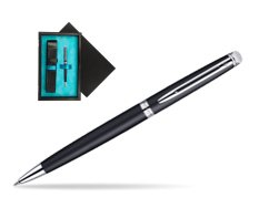 Waterman Hémisphère Matt Black CT Ballpoint pen  single wooden box  Black Single Turquoise