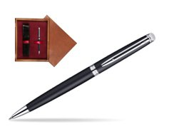 Waterman Hémisphère Matt Black CT Ballpoint pen in single wooden box Mahogany Single Maroon