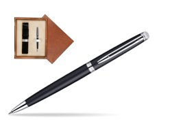 Waterman Hémisphère Matt Black CT Ballpoint pen in single wooden box  Mahogany Single Ecru
