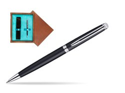 Waterman Hémisphère Matt Black CT Ballpoint pen in single wooden box  Mahogany Single Turquoise