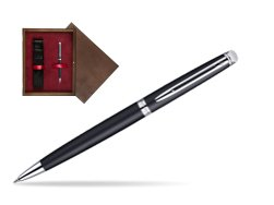 Waterman Hémisphère Matt Black CT Ballpoint pen in single wooden box  Wenge Single Maroon