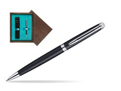Waterman Hémisphère Matt Black CT Ballpoint pen in single wooden box  Wenge Single Turquoise