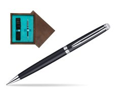 Waterman Hémisphère Matt Black CT Mechanical pencil  in single wooden box  Wenge Single Turquoise