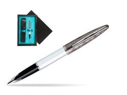 Waterman Carène Contemporary White and Gunmetal ST Fountain pen  single wooden box  Black Single Turquoise