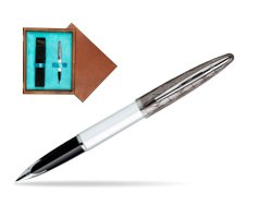 Waterman Carène Contemporary White and Gunmetal ST Fountain pen in single wooden box  Mahogany Single Turquoise