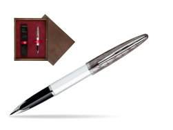 Waterman Carène Contemporary White and Gunmetal ST Fountain pen in single wooden box  Wenge Single Maroon