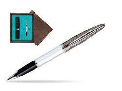 Waterman Carène Contemporary White and Gunmetal ST Fountain pen in single wooden box  Wenge Single Turquoise