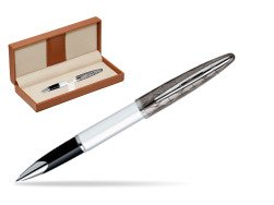 Waterman Carène Contemporary White and Gunmetal ST Rollerball  in classic box brown