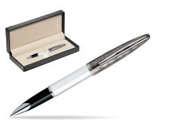 Waterman Carène Contemporary White and Gunmetal ST Rollerball  in classic box  black