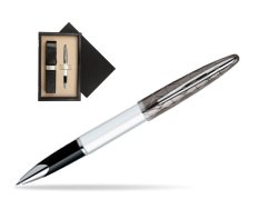 Waterman Carène Contemporary White and Gunmetal ST Rollerball  single wooden box  Wenge Single Ecru