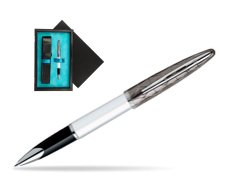 Waterman Carène Contemporary White and Gunmetal ST Rollerball  single wooden box  Black Single Turquoise