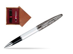 Waterman Carène Contemporary White and Gunmetal ST Rollerball in single wooden box Mahogany Single Maroon