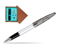 Waterman Carène Contemporary White and Gunmetal ST Rollerball in single wooden box  Mahogany Single Turquoise
