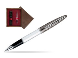 Waterman Carène Contemporary White and Gunmetal ST Rollerball in single wooden box  Wenge Single Maroon