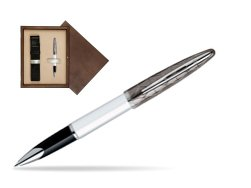 Waterman Carène Contemporary White and Gunmetal ST Rollerball in single wooden box  Wenge Single Ecru